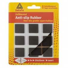 ANTI-SLIPRUBBER ZWART 25X25MM 9 ST